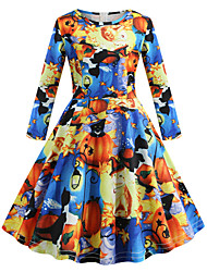 cheap -Audrey Hepburn Dress Party Costume Kid's Girls' Retro Vintage Halloween Halloween Festival / Holiday Polyster Blue Carnival Costumes