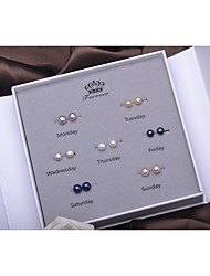 cheap -Women's Purple Black Blue Freshwater Pearl Stud Earrings Simple Fashion Silver Earrings Jewelry White For Daily Holiday 1 set