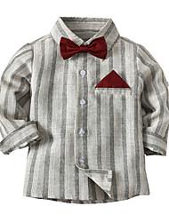 cheap -Kids Toddler Boys' Basic Color Block Bow Long Sleeve Shirt Light gray