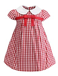 cheap -Kids Girls' Sweet Cute Butterfly Striped Bow Short Sleeve Above Knee Dress Red