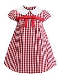 cheap -Kids Girls' Sweet Cute Butterfly Striped Bow Short Sleeve Above Knee Dress Red