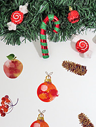 cheap -Merry Christmas Watercolor Wall Sticker French Dessert Apple Decoration Self-Adhesive Waterproof Wallpaper for Children's Room