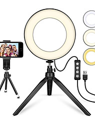 cheap -6inch LED Selfie Ring Light Camera Dimmable with Tripod Stand and Phone Holder 1 set Tiktok Video with 3 Light Modes 11 Brightness Level USB
