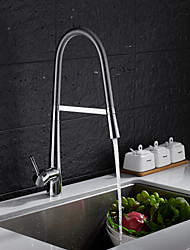 cheap -Kitchen faucet - Single Handle One Hole Chrome Pull-out / ­Pull-down Free Standing Contemporary Kitchen Taps
