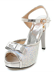 cheap -Women's Sandals Stiletto Heel Peep Toe Sequin / Imitation Pearl / Buckle PU Summer Silver / Pink / Coffee / Wedding / Party & Evening