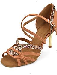 cheap -Women's Dance Shoes Satin Latin Shoes Splicing Heel Slim High Heel Customizable Black / Purple / Bronze