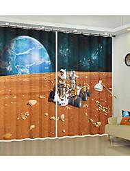 cheap -Space Decoration Curtain On The Moon Astronaut Digital Printing 3d Curtain Nebula Shade Curtain High Precision Black Silk Fabric High Quality First Grade Shade Bedroom Living Room Curtain