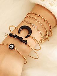 cheap -6pcs Women's Black Chain Bracelet Bracelet Bangles Vintage Bracelet Layered Evil Eye Vintage Trendy Ethnic Fashion Boho Stone Bracelet Jewelry Gold For Gift Daily Holiday Club Festival
