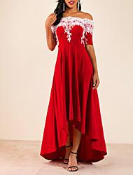 cheap -Women's Asymmetrical A Line Dress - Solid Colored Off Shoulder Purple Red Blue S M L XL