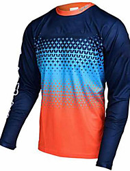 cheap -21Grams Men's Long Sleeve Cycling Jersey Dirt Bike Jersey Winter Fleece 100% Polyester Blue+Orange Blue+Yellow Bike Jersey Pants Top Mountain Bike MTB Road Bike Cycling UV Resistant Breathable Quick