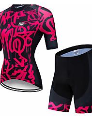 abordables -CAWANFLY Femme Manches Courtes Maillot et Cuissard Velo Cyclisme Noir / Rouge Géométrique Cyclisme Ensembles de Sport VTT Vélo tout terrain Vélo Route Respirable Séchage rapide Poche arrière Des
