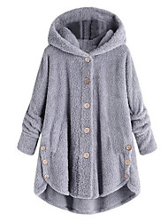 cheap -Women's Daily Active / Street chic Fall / Winter Plus Size Regular Coat, Solid Colored Hooded Long Sleeve Cotton Pleated / Print Wine / Yellow / Blushing Pink