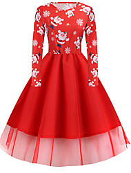 cheap -Women's Plus Size A Line Dress - Long Sleeve Geometric Print Basic Christmas Party Daily Wear Black Blue Red Green Light Green S M L XL XXL XXXL XXXXL XXXXXL