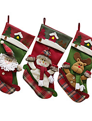 cheap -Christmas Stocking Santa Claus Burlap Sock Christmas New Year Gift Candy Bags