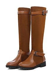 cheap -Women's Boots Knee High Boots Block Heel Round Toe PU Knee High Boots Fall & Winter Black / Light Brown / Royal Blue