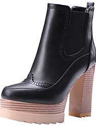 cheap -Women's Boots Chunky Heel Round Toe PU Winter Black / Brown / Coffee