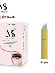 abordables -50pcs aiguilles de microblading manuelles 12pin pente lames de tatouage Tebori pour maquillage permanent sourcils de micropigmentation ombrage outil
