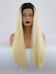 cheap -Synthetic Lace Front Wig Silky Straight Middle Part Lace Front Wig Blonde Ombre Long Light Blonde Synthetic Hair 18-24 inch Women's Soft Adjustable Synthetic Blonde Ombre