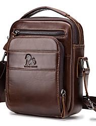 cheap -Men's Bags Cowhide Shoulder Messenger Bag Crossbody Bag Pattern / Print Solid Color Daily Office & Career Black Brown Coffee