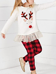 cheap -Toddler Girls' Active Plaid Christmas Long Sleeve Clothing Set White