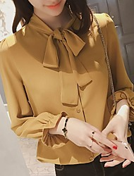 cheap -Women's Daily Basic Blouse - Solid Colored Dusty Rose, Bow Shirt Collar Black / Spring / Summer / Lace up