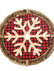 cheap -90cm Buffalo Plaid Christmas Tree Skirt Snowflakes Round Carpet Imitation Fur Tree Skirt Christmas Party Decoration