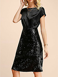 cheap -A-Line Jewel Neck Knee Length Satin / Sequined Little Black Dress Cocktail Party / Holiday Dress 2020 with Sequin
