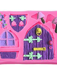 cheap -Fairy Tale Cottage Wood Window Door Love Flowers Mushroom Silicone Mold DIY Cake Decorating Tools