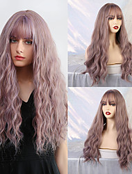 cheap -Synthetic Wig Bangs Curly Water Wave Side Part Neat Bang With Bangs Wig Very Long Purple Synthetic Hair 26 inch Women's Cosplay Women Synthetic Purple Mixed Color HAIR CUBE