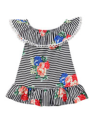 cheap -Baby Girls' Active Black & White Striped / Floral Print Sleeveless Dress Black