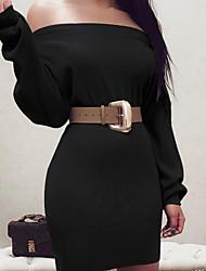 cheap -Women's Sheath Dress - Solid Colored Black Wine Khaki S M L XL