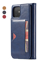 cheap -Case For Apple iPhone 11 / iPhone 11 Pro / iPhone 11 Pro Max Wallet / Card Holder / Flip Full Body Cases Solid Colored PU Leather