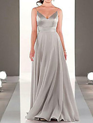 cheap -A-Line Spaghetti Strap Floor Length Chiffon Bridesmaid Dress with Pleats / Open Back
