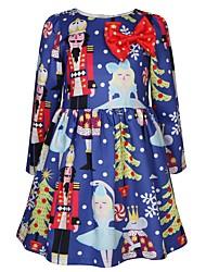 cheap -Kids Toddler Girls' Active Sweet Cartoon Christmas Print Long Sleeve Knee-length Dress Blue