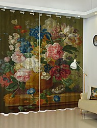 cheap -Oil Painting Style Flower Basket Digital Printing 3D Curtain Shading Curtain High Precision Black Silk Fabric High Quality Curtain