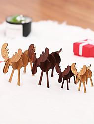 abordables -4pcs décoration de noël en bois orignal ornements bricolage cadeaux de noël pour les enfants pour la maison