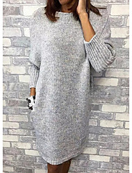 cheap -Women's Gray Dress Sweater Solid Colored M L