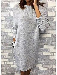 cheap -Women's Sweater Dress - Solid Colored Gray M L XL XXL
