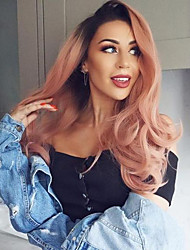 cheap -Synthetic Lace Front Wig Body Wave Middle Part Lace Front Wig Pink Ombre Long Black / Pink Synthetic Hair 18-24 inch Women's Synthetic Easy dressing Hot Sale Pink Ombre