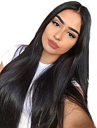 cheap -Hair Care Synthetic Lace Front Wig Synthetic Extentions Silky Straight Middle Part Lace Front Wig Long Natural Black Synthetic Hair 18-30 inch Women's Soft Adjustable Synthetic Black
