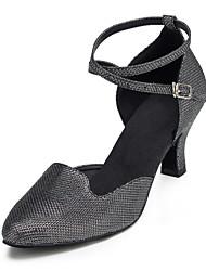 cheap -Women's Modern Shoes / Ballroom Shoes Lace Cross Strap Heel Tassel Cuban Heel Customizable Dance Shoes Black / Silver / Performance