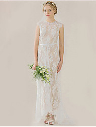 cheap -Sheath / Column High Neck Sweep / Brush Train Lace Cap Sleeve Beautiful Back Made-To-Measure Wedding Dresses with Lace 2020