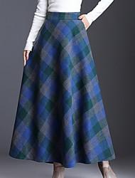 cheap -Women's Maxi Swing Skirts Plaid