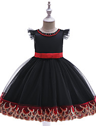 cheap -Kids Toddler Girls' Active Cute Color Block Christmas Beaded Bow Pleated Sleeveless Knee-length Dress Black