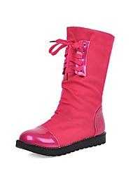 cheap -Women's Boots Flat Heel Round Toe Suede / PU Mid-Calf Boots Preppy / Minimalism Fall & Winter Purple / Fuchsia / Orange