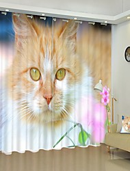 cheap -Long Hair Orange Cat Digital Printing 3D Curtain Shading Curtain High Precision Black Silk Fabric High Quality Curtain