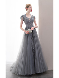 cheap -A-Line Scoop Neck Floor Length Lace / Tulle Sexy / Sparkle & Shine Prom / Formal Evening Dress 2020 with Beading / Embroidery