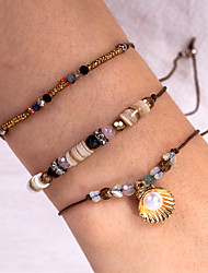 cheap -3pcs Women's Bead Bracelet Vintage Bracelet Earrings / Bracelet Layered Weave Classic Vintage Trendy Fashion Boho Cord Bracelet Jewelry Brown For Gift Daily School Holiday Festival / Pendant Bracelet