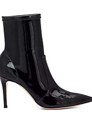 cheap -Women's Boots Stiletto Heel Pointed Toe Patent Leather Mid-Calf Boots Summer Black / White