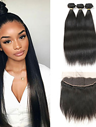 cheap -3 Bundles with Closure Brazilian Hair Straight Human Hair Human Hair Extensions Hair Weft with Closure 8-26 inch Black Human Hair Weaves Women New Arrival Hot Sale Human Hair Extensions